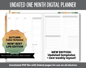 NEW! Undated One Month Digital Planner | Autumn - Best Life Edition | GoodNotes, iPad & Android