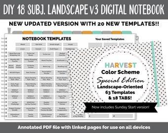 NEW 18 Subject Digital Notebook Landscape v3  | Harvest Theme | Goodnotes, iPad & Android | Digital Bullet Journal, Planner, Notebook