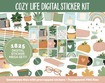 Cozy Life Digital Sticker Mega Bundle | GoodNotes & iPad | October, Retro, Fall, Papers, Cottage Core, Self-Care, Adulting, Tasks