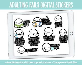 Adulting Fails Digital Stickers | GoodNotes, iPad and Android | Chores, Tasks