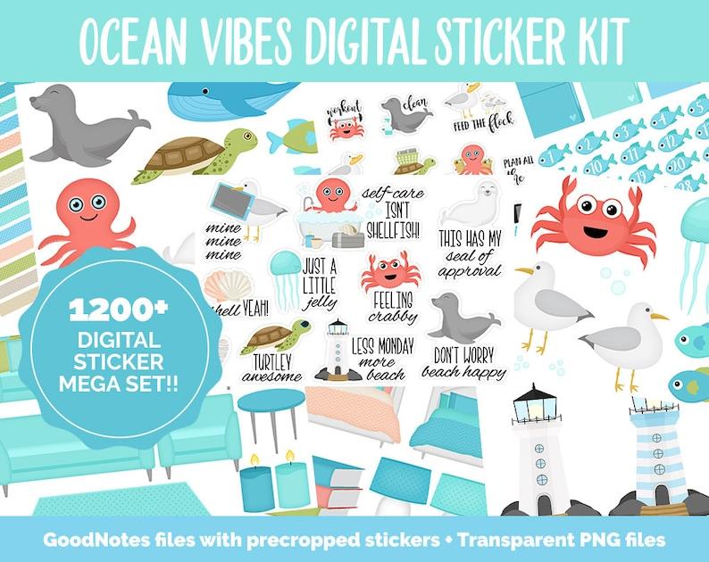 Ocean Vibes Digital Sticker Mega Bundle  GoodNotes & iPad  image 0
