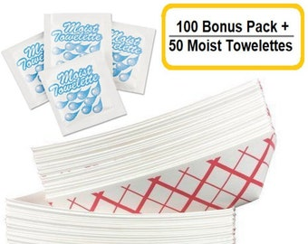 5 lb Red & White Plaid Disposable Paper Food Trays/Boat Baskets - 100 Pack + 50 Moist Towelettes Bonus Pack