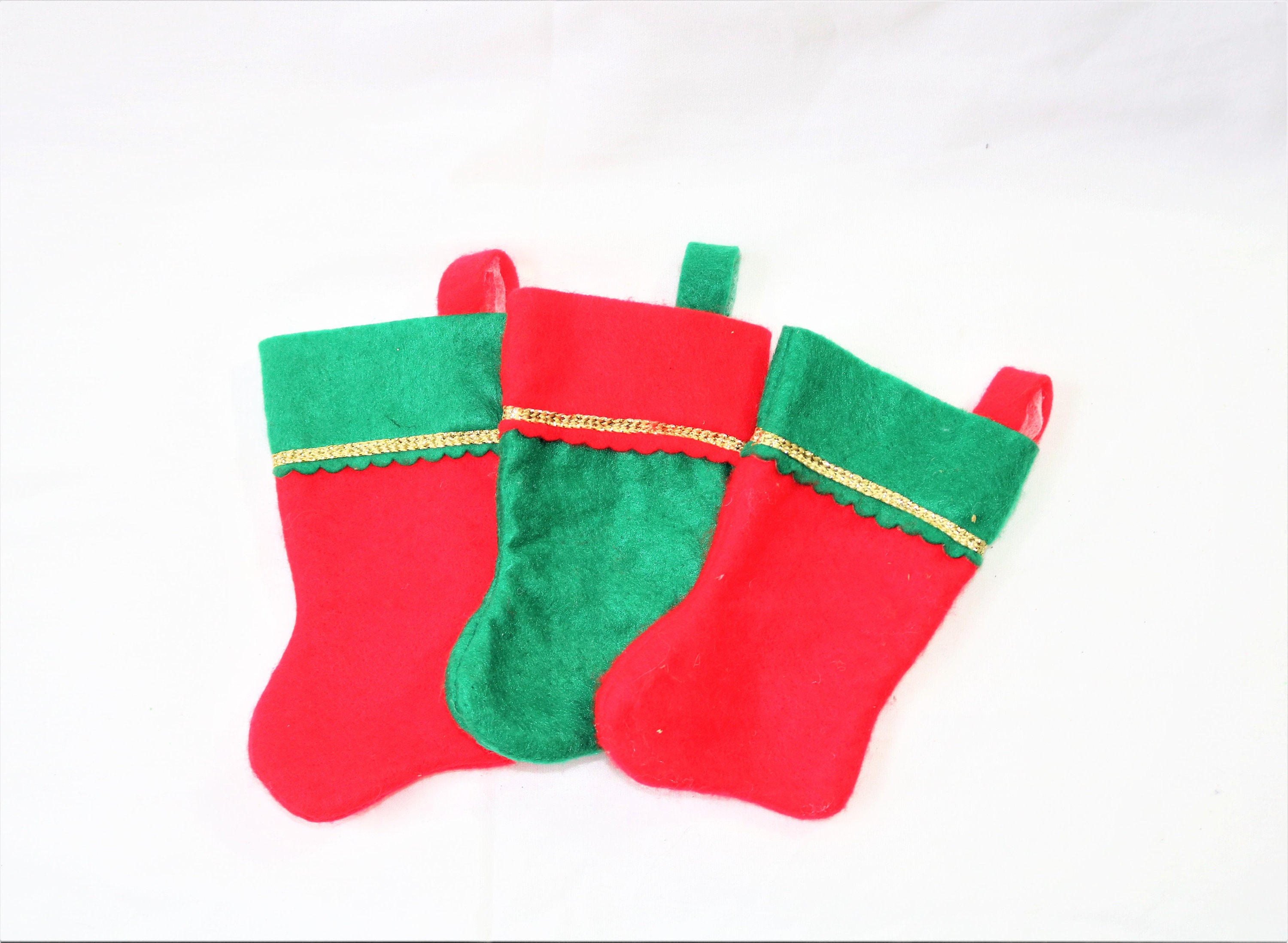 3 set of christmas stockings red green stuffer socks - Red And Green Christmas Stockings