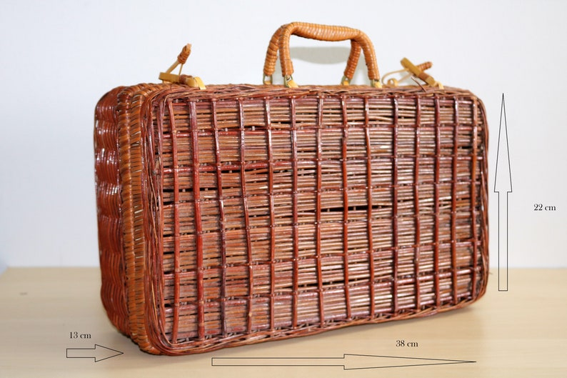 Vintage Boho Wicker Bag Wooden Picnic Basket with Handle and Lock Luggage