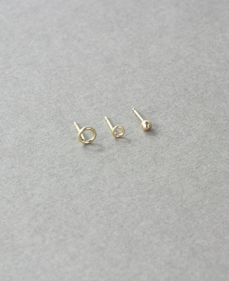 263f0bdad2607 Mini 9K Gold Circle Stud Earrings, 9K Studs, Mini Stud Earring, Gold  Earrings, Solid Gold, Hand Made studs, Gift for Her, Mixmatch studs