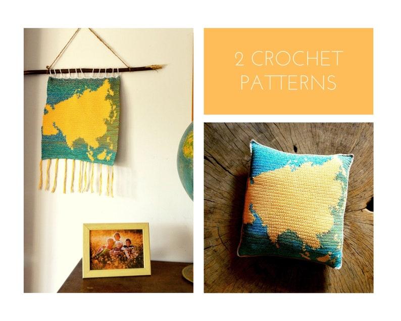 2 Crochet Patterns //Asia Montessori Set: Continent Catcher image 0