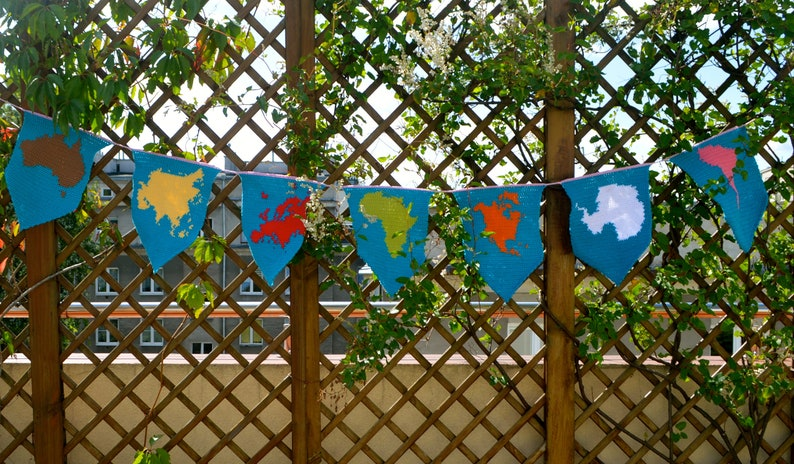 Crochet Pattern  Montessori Continents Bunting  Geography Garland  Hanging Decoration for Kids