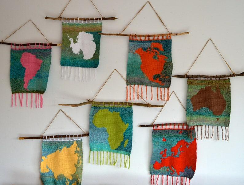 7 Crochet Patterns // Wall Hangings Montessori Set: Continent image 0