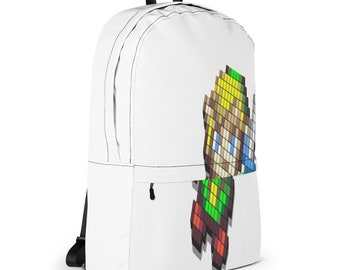 Pixelated Cartoon Backpack, Laptop Bag, White Bagpack, Cool Bag