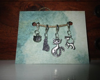 Mad cat lady / Cats knitting / Crochet stitch markers / phone charm / bag charm