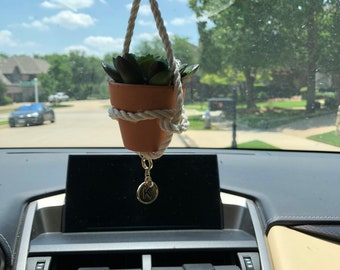 Adjustable Succulent Car Charm with Gold Initial and Diamond for Rear view Mirror