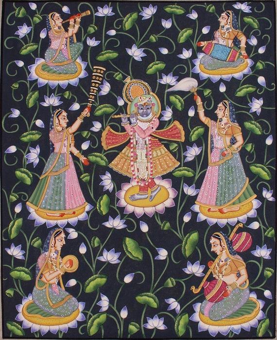 Nathdwara pichwai painting krishna & gopis hand painted | Etsy