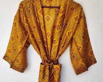 Silk kimono robe long Bohemian Vacation robe Sexy Bridal silk robe # PSK 46 Honeymoon silk robe long Romantic long kimono