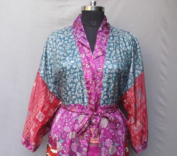 Multicoloured Funky Robe Night Wear Robes Swimming Robe Trendy Wear Ethnic Wear Cover up Indian Vintage Saree Cross Over #MK 177
