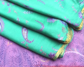 Vintage Pure Silk Sari Indian Traditional Culture Sari 5 Yard Women Dress Fabric Decorative Ethnic Crafts Fabric Hippie Sari Used #PSTIC 149