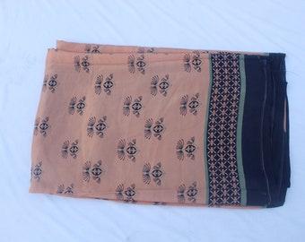 Vintage Indian Multi Pure Silk Saree Floral Printed Saree Deco Sari Craft Fabric Dressmaking,Crafting, Silk Sari 5 Yard Fabric #PSTIC 551