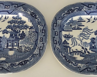 Pair of  Large Antique Ironstone Willow Pattern Meat Plates Transfer ware