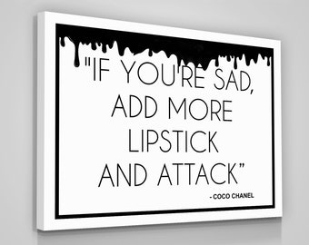 2af891ddeba9 Coco Chanel Quotes Canvas Print Love Yourself Home Wall Decor Modern Art  Sign Lipstick Woman Coco Chanel Quotes Gift For Her Chanel Women CC