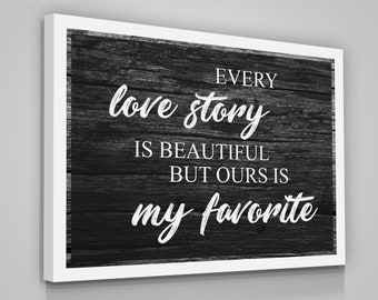 d12afa462b67 LOVE Story Quote Canvas Print Love Couple Home Wall Decor Wood Modern Art  Sign Bedroom Family Quotes Gift For Her Love Wedding Gift Vintage