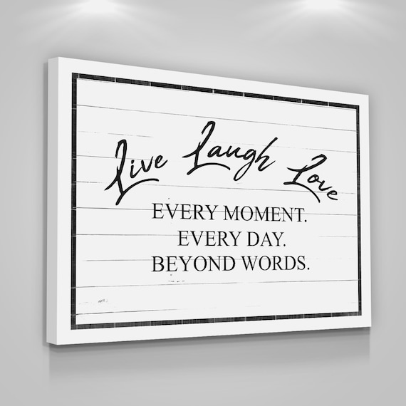 LIVE LAUGH LOVE Quote Canvas Print Positive Quote Home Wall Decor Modern  Art Wood Sign Bedroom Quotes Art Gift For Her Wedding Gift Vintage