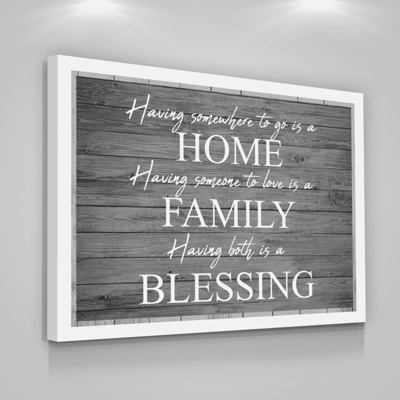 Home Family Blessing Quote Canvas Print Love Home Wall Decor Etsy