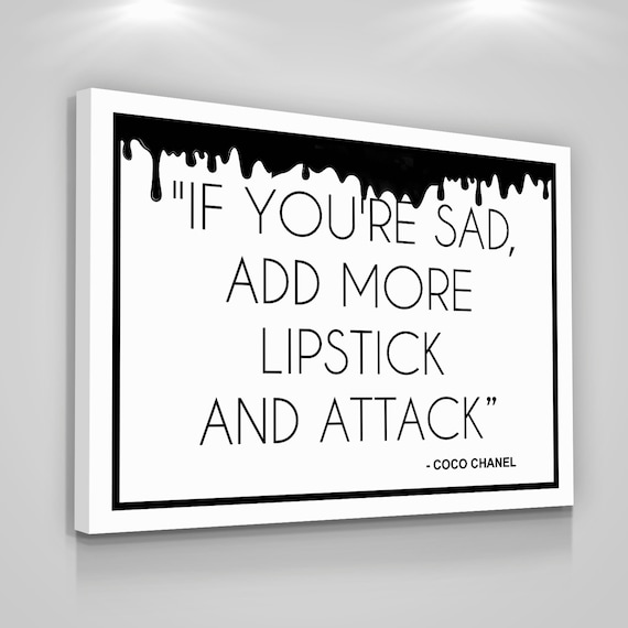Coco Chanel Quotes Canvas Print Love Yourself Home Wall Decor Modern Art Sign Lipstick Woman Coco Chanel Quotes Gift For Her Chanel Women Cc