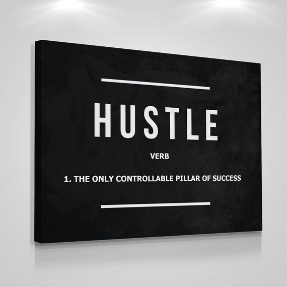 hustle verb wall art canvas print modern art office decor