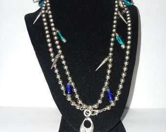 """Necklace 40"""" metal and glass beads silver spikes"""