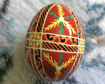 Vivid Red Ukrainian Decorated Egg (Pysanka)