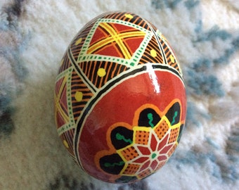 Joyful Red Ukrainian Decorated Egg (Pysanka)