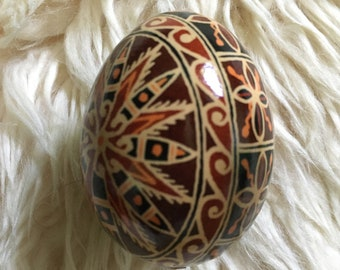 Traditional Brown Ukrainian Decorated Egg (Pysanka)