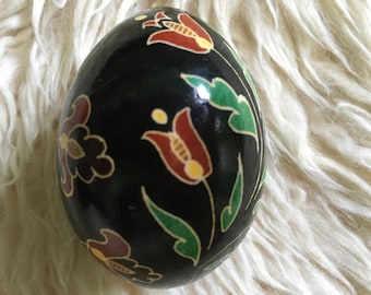 Floral on Black Ukrainian Decorated Egg (Pysanka)