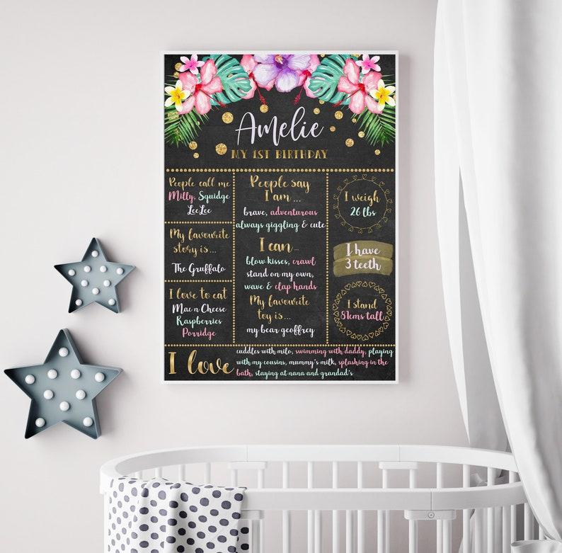 Baby Girl Milestone Chalkboard  Floral Baby Milestone Chalkboard  Printable First Birthday Chalkboard  1st Birthday Milestone Poster