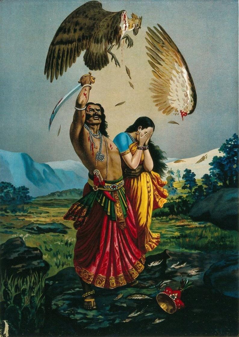 Jatayu Vadham by Raja Ravi Varma - Canvas Roll