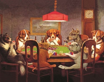 Dogs Playing Poker - Unframed Canvas Reprint
