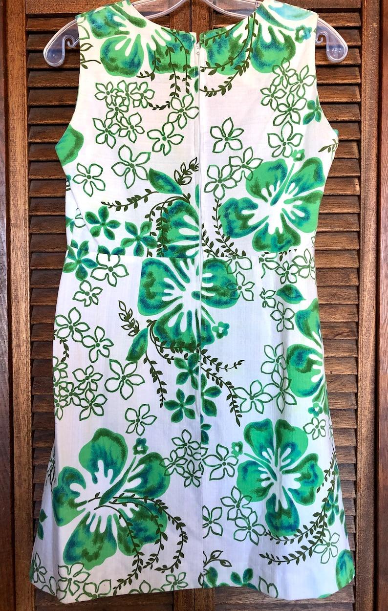 Vintage Barkcloth 60s MALIHINI Hawaii Hibiscus Tiki Dress Green Blue White size SmallMed