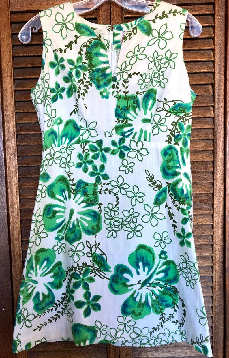 Tiki Dress Green Blue White size SmallMed Vintage Barkcloth 60s MALIHINI Hawaii Hibiscus