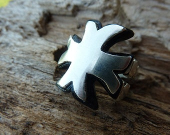 Ring Silver Cross of Malta and painted black