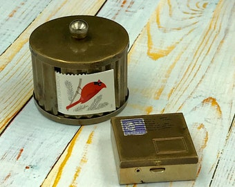 Vintage Brass Postage Stamp Dispenser And Holder Box Roll For Stamps
