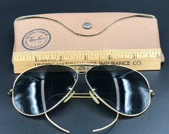 19532c60e0 1960s Ray-Ban Bausch   Lomb Aviator Outdoorsman Shooter Bullet Hole  Sunglasses