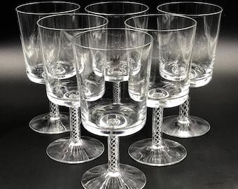 4561db336c7 6 Vtg Air Twist Stem Crystal Wine Glasses Water Goblets