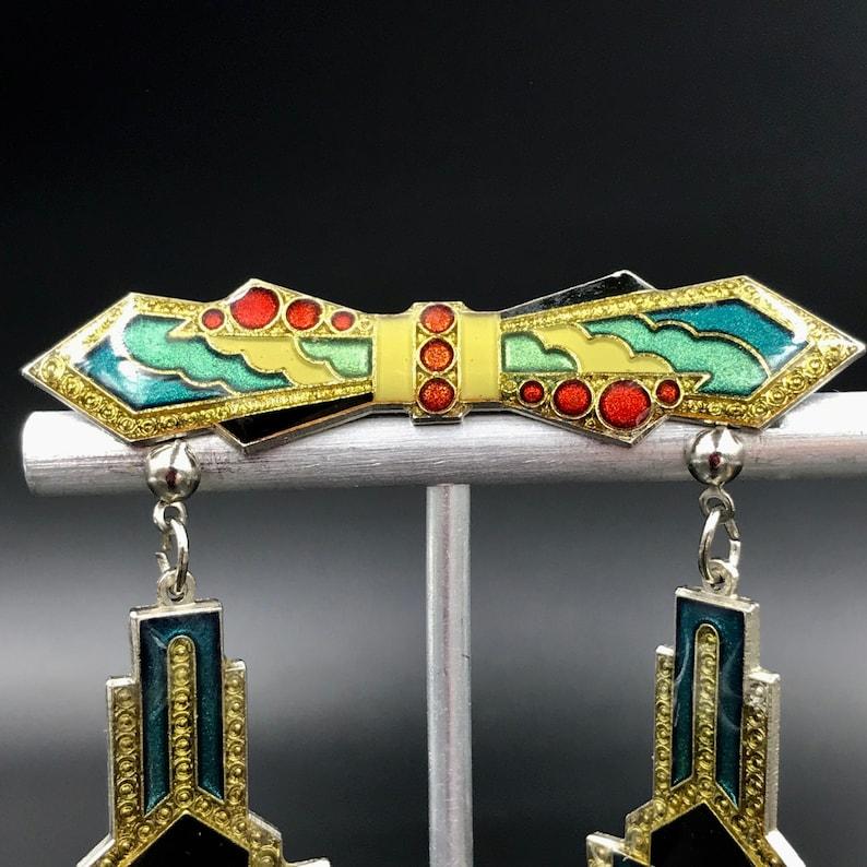 Vtg ART DECO Style Demi-Parure Drop Earrings and Brooch Art Deco Style Silver Tone Enamel Earrings and Matching Brooch