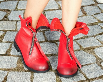 Red genuine leather boots/woman genuine leather boots