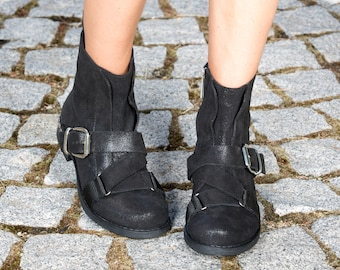 Woman genuine leather boots/black genuine leather boots/woman casual boots