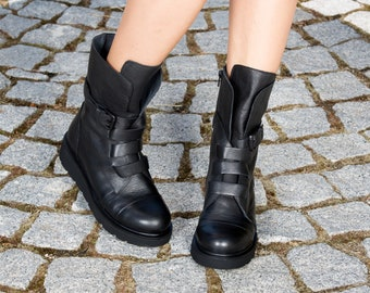 Black genuine leather boots/woman genuine  leather boots/woman casual boots