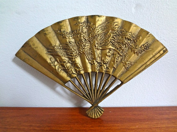 Vintage Brass Fan With Phoenix Design Home Decor Item Circa Etsy Mesmerizing Home Decorative Item Model