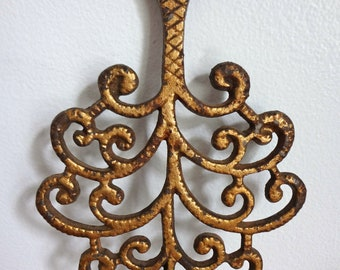 Vintage Brass Colored Tree Shaped Cast Iron Trivet
