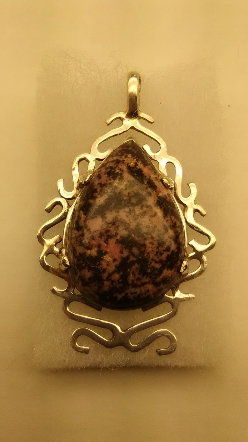 Hand Crafted Pink and Black Rhodonite Cabochon  set in a hand made Sterling Silver Pendant Very Nice!!
