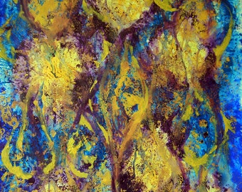 """Original Acrylic Painting """"Burst"""" by Dino  22""""x34"""""""