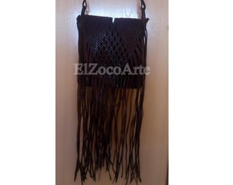 Moroccan leather handbag with handmade fringes